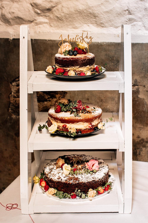 Cake Ladder Table Park House Barn Wedding Fairclough Studios