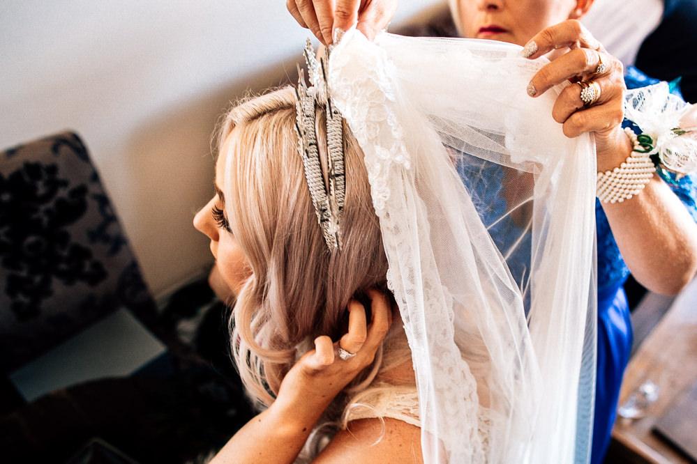 Lace Veil Crown Tiara Bride Bridal Park House Barn Wedding Fairclough Studios