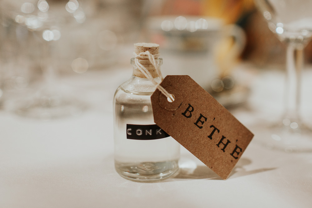 Bottle Drinks Favours Luggage Tags Pennard House Wedding Oxi Photography