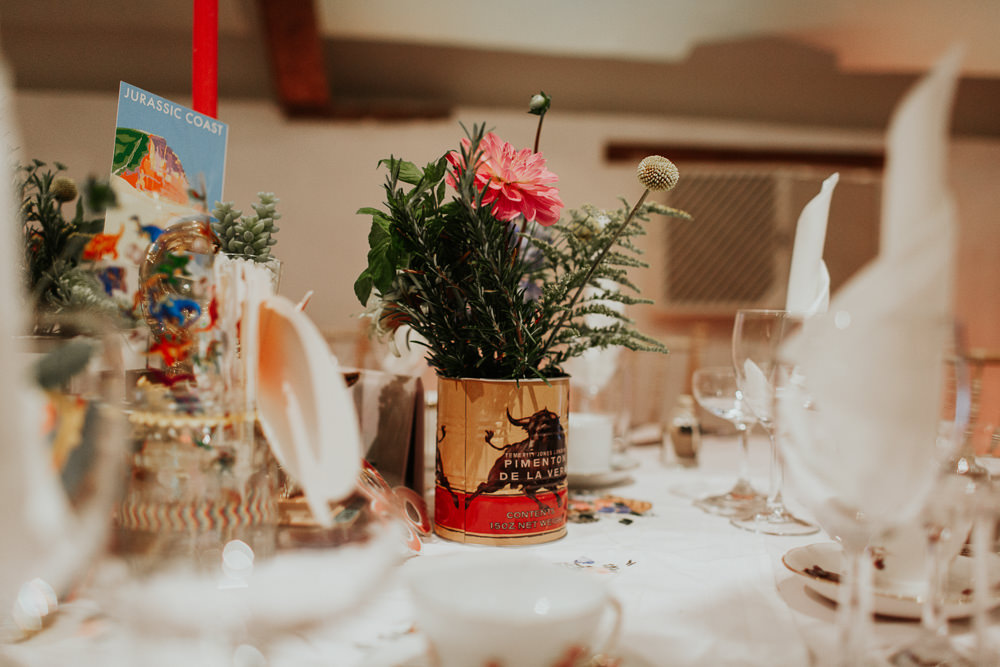 Centrepiece Decor Table Books Candles Tin Flowers Cans Pennard House Wedding Oxi Photography