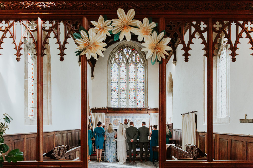 Paper Flower Decor Church Retro Vintage Pennard House Wedding Oxi Photography