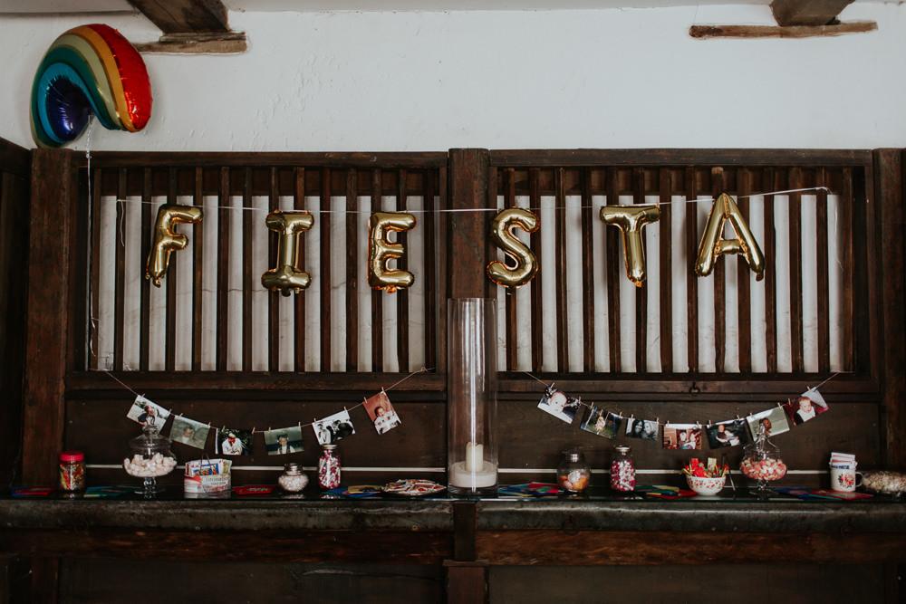 Gold Letter Balloons Decor Pennard House Wedding Oxi Photography