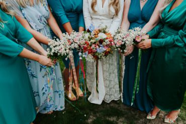 Bouquet Flowers Bride Bridal Colourful Ribbons Retro Vintage Dhalias Snap Dragons Crespedia Bridesmaids Pennard House Wedding Oxi Photography