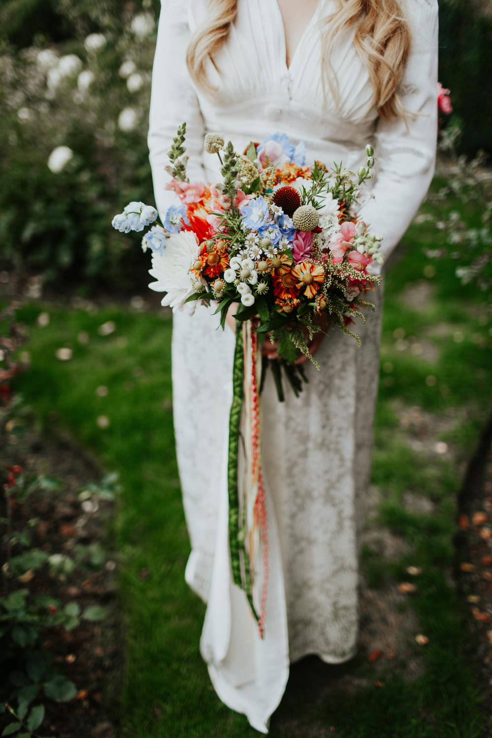 Bouquet Flowers Bride Bridal Colourful Ribbons Retro Vintage Dahlias Snap Dragons Crespedia Pennard House Wedding Oxi Photography
