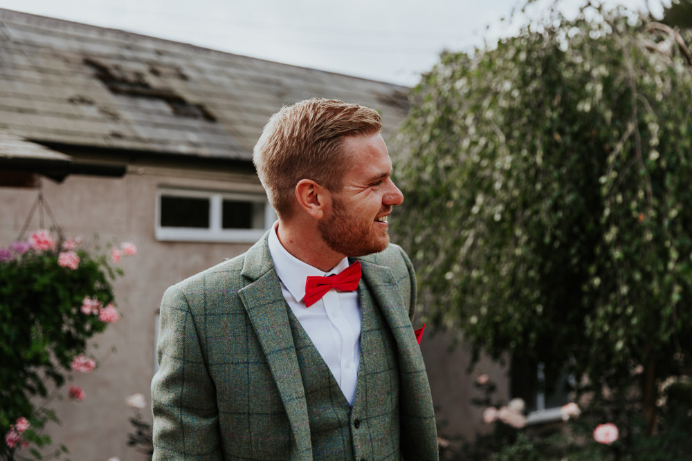 Groom Suit Pink Red Bow Tie Check Groomsmen Green Tweed Pennard House Wedding Oxi Photography