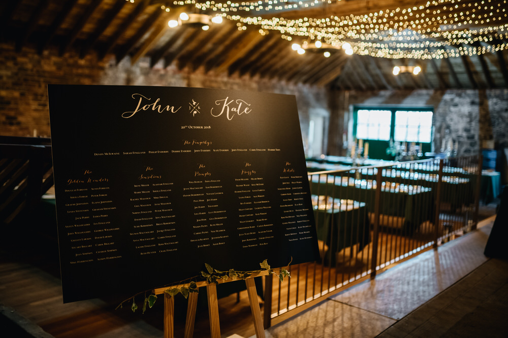 Rustic Barn Fairy Lights Seating Plan Table Chart Calligraphy Black Board Rhynd Wedding Harper Scott Photo