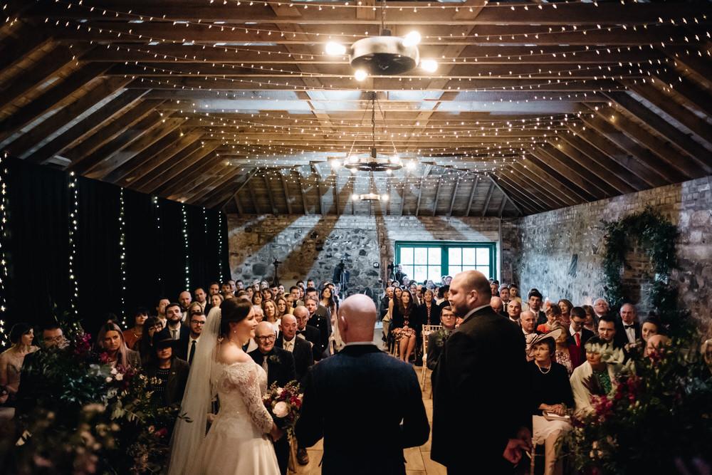 Rustic Barn Fairy Lights Rhynd Wedding Harper Scott Photo