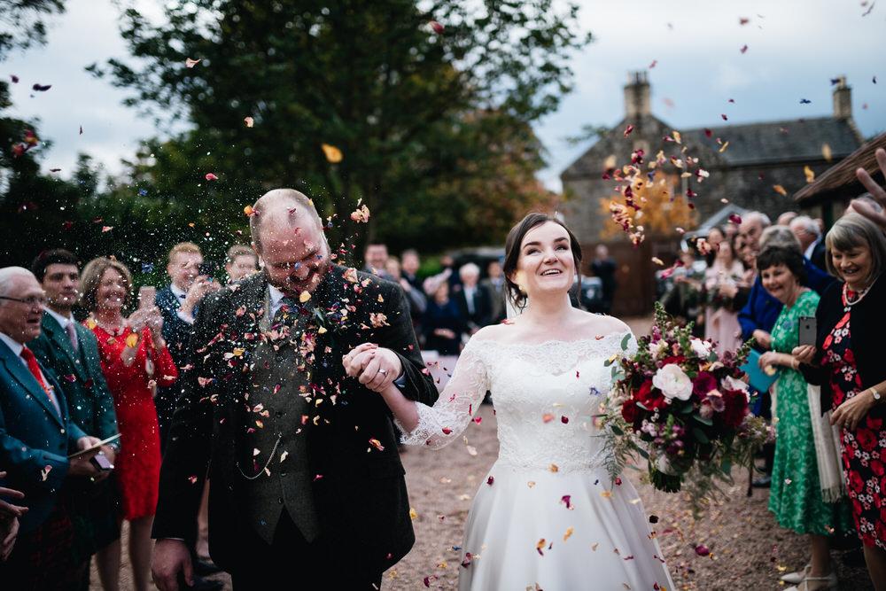 Petal Confetti Throw Rhynd Wedding Harper Scott Photo