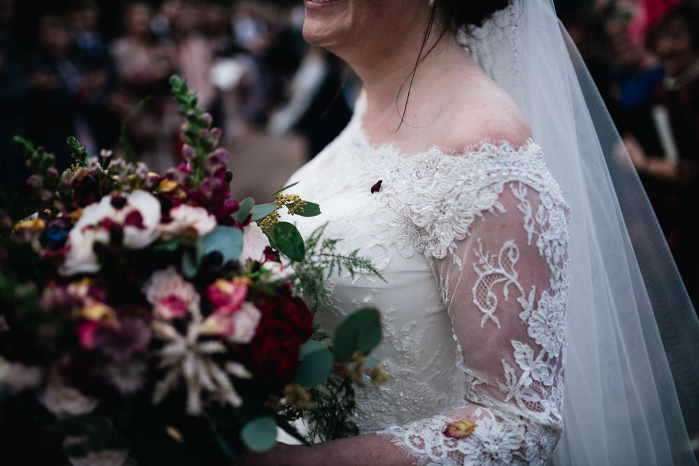 Bouquet Flowers Bride Bridal Red Greenery Rose Astilbe Pink Fern Lace Sleeves Rhynd Wedding Harper Scott Photo