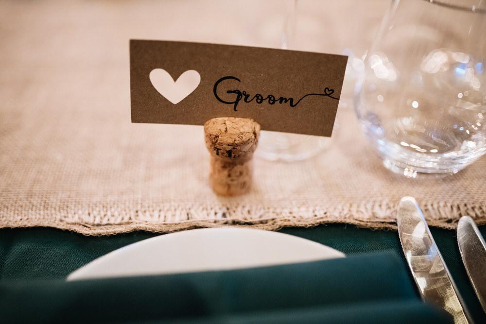 Heart Brown Kraft Name Tag Calligraphy Cork Rhynd Wedding Harper Scott Photo