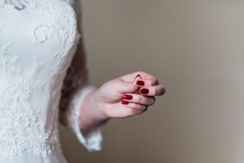 Red Nails Manicure Bride Bridal Rhynd Wedding Harper Scott Photo