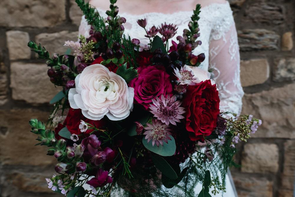 Bouquet Flowers Bride Bridal Red Greenery Rose Astilbe Pink Fern Rhynd Wedding Harper Scott Photo
