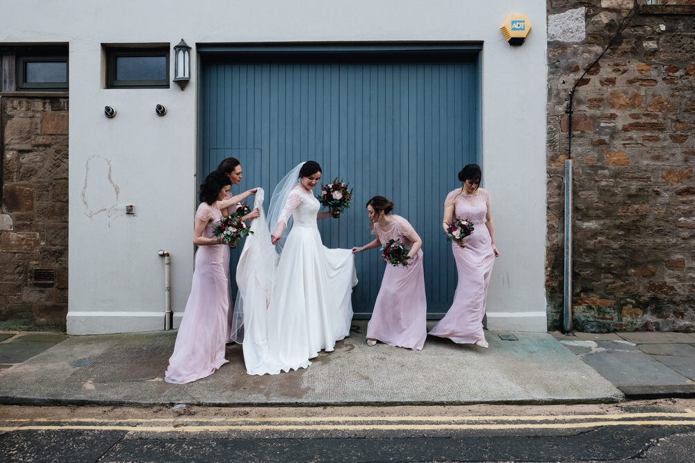 Long Pink Maxi Bridesmaid Dress Dresses Rhynd Wedding Harper Scott Photo