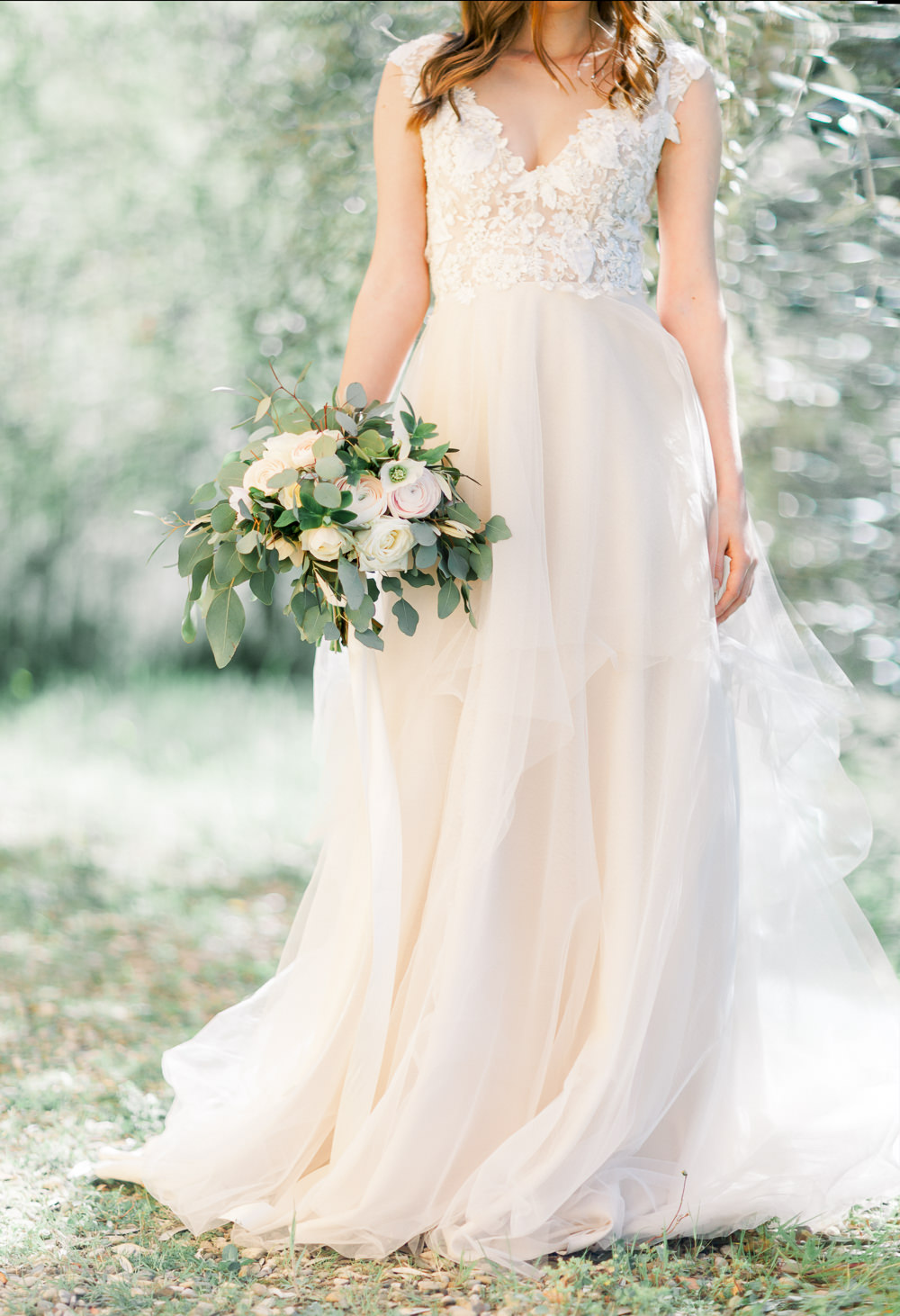Bride Bridal Dress Gown Tulle Floral Straps Romantic Tuscany Wedding Ideas Sonya Lalla Photography