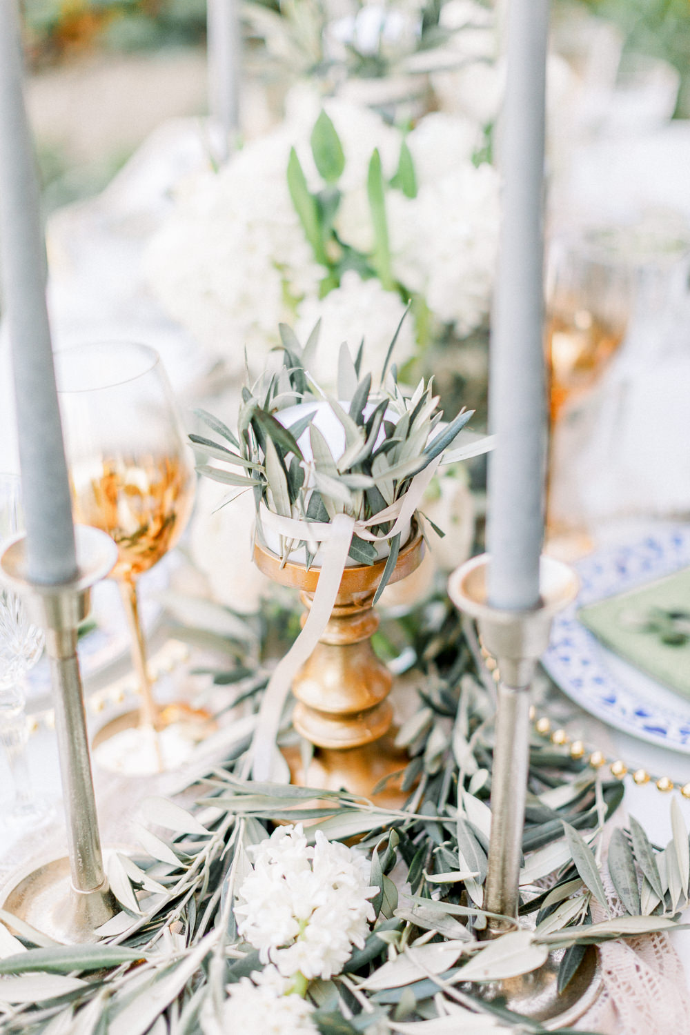 Tablescape Table Decor Grey Green Ivory Greenery Runner Candles Flowers Romantic Tuscany Wedding Ideas Sonya Lalla Photography