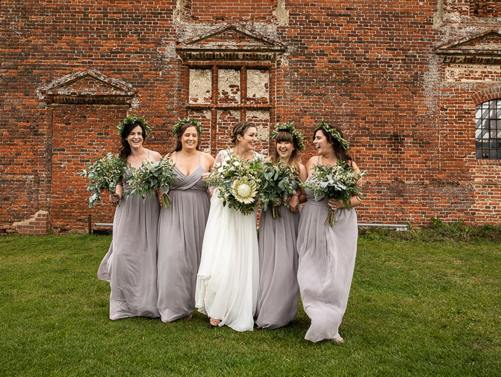 Bridesmaids Dress Dresses Dove Grey Greenery Bouquets Flowercrowns Rustic Botanical Barn Wedding Lorna Newman Photography