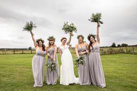 Bridesmaids Dress Dresses Dove Grey Greenery Bouquets Flowercrowns Rustic Botanical Barn Wedding Lorna Newman Photography