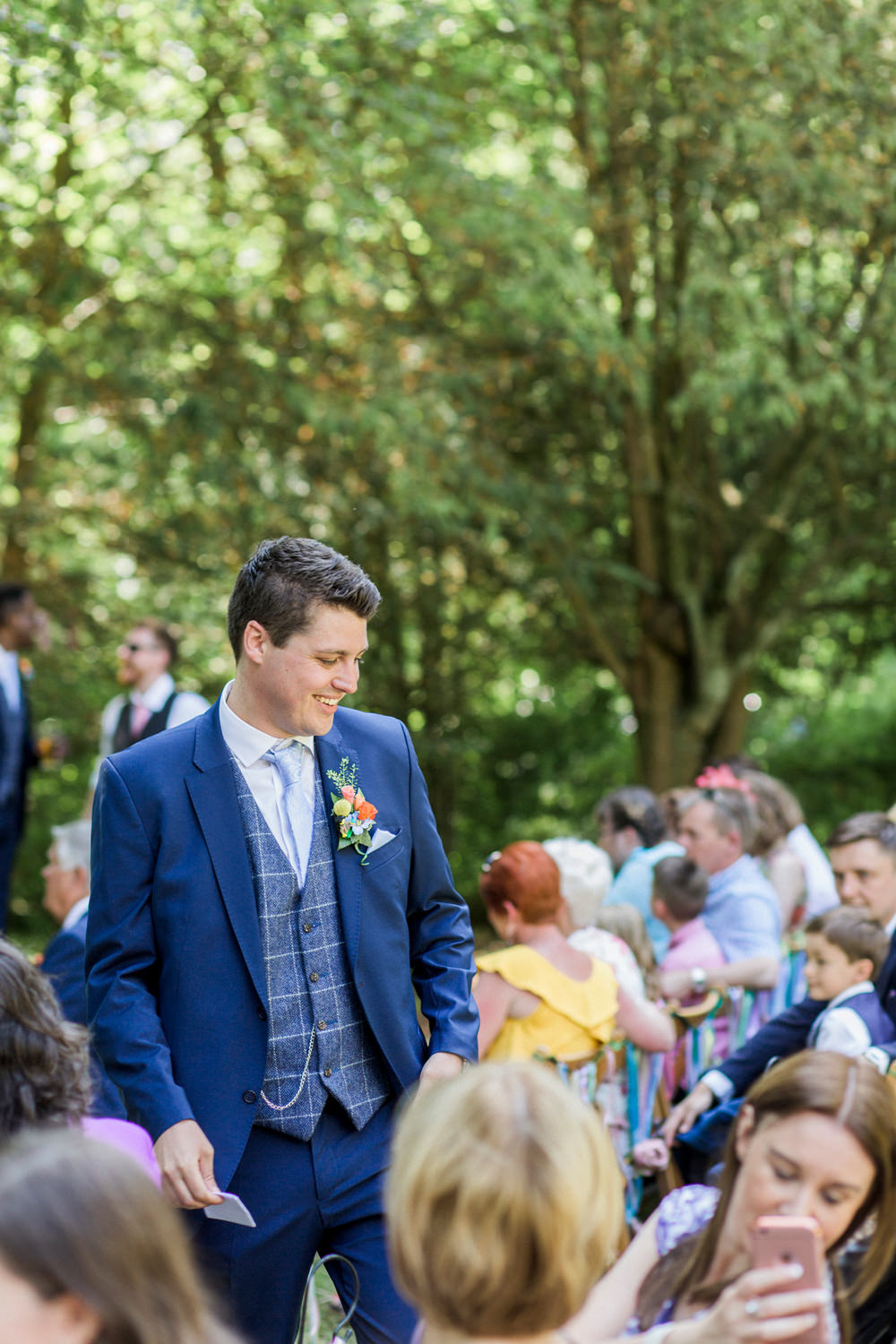 Groom Blue Check Tweed Waistcoat Three Piece Suit Spring Cottage Rivington Wedding Emma B Photography