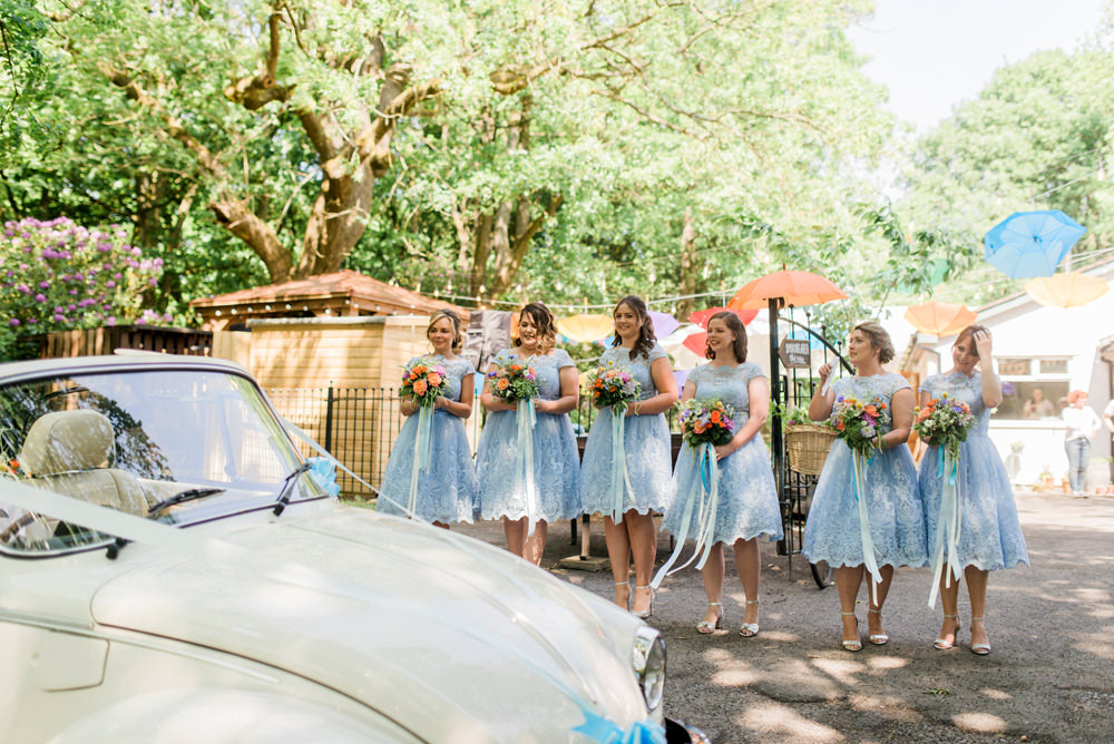 Powder Baby Blue Lace Tea Length Bridesmaids Dress Lace Ribbon Spring Cottage Rivington Wedding Emma B Photography