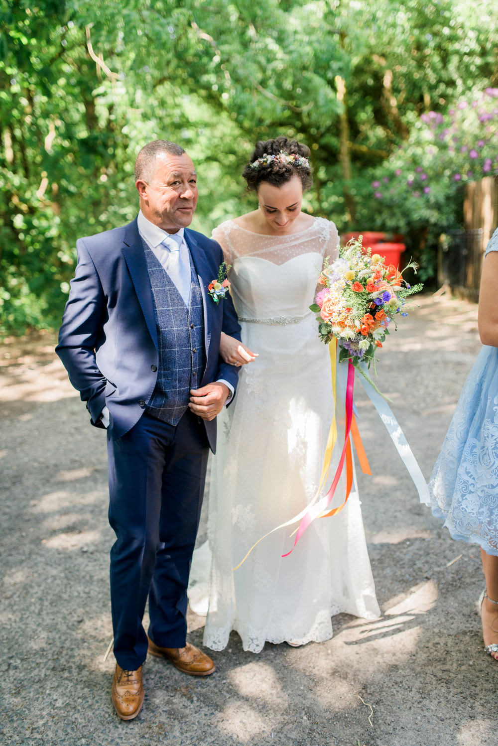 Bride Bridal Strapless Sweetheart Neckline Lace Jacket Sleeves Waistcoat Tweed Check Three Piece Suit Blue Multicoloured Bouquet Ribbon Spring Cottage Rivington Wedding Emma B Photography