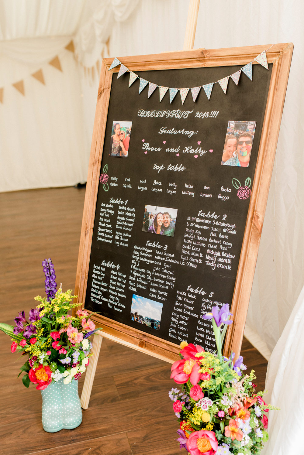 Chalk Board Bunting Table Plan Spring Cottage Rivington Wedding Emma B Photography