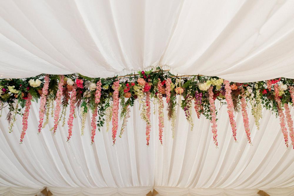 Hanging Floral Installation Spring Cottage Rivington Wedding Emma B Photography