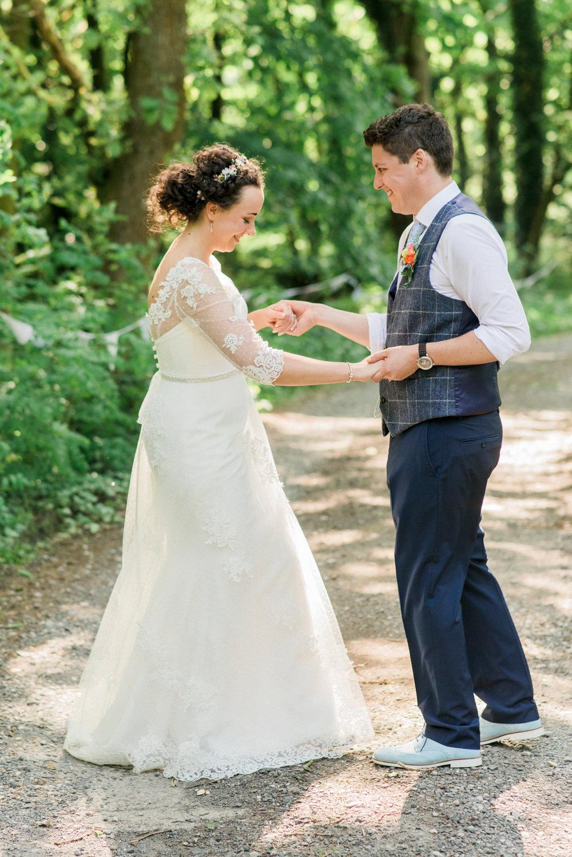Bride Bridal Strapless Sweetheart Neckline Lace Jacket Sleeves Waistcoat Tweed Check Three Piece Suit Blue Spring Cottage Rivington Wedding Emma B Photography