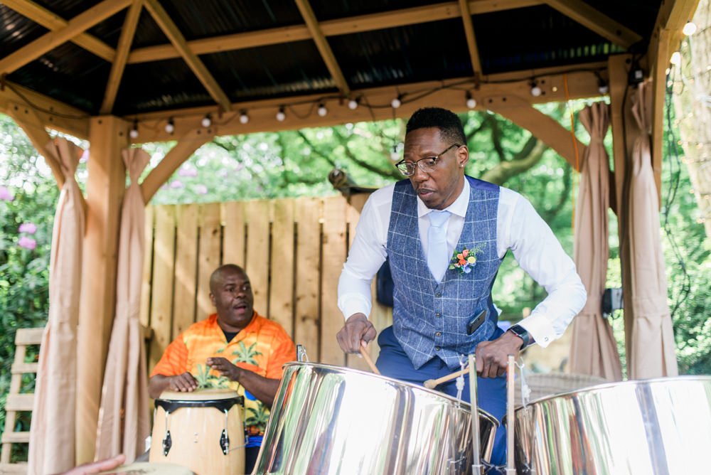 Steel Pans Blue Check Tweed Waistcoat Groomsman Spring Cottage Rivington Wedding Emma B Photography