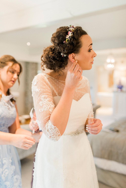 Bride Bridal Strapless Sweetheart Neckline Lace Jacket Sleeves Spring Cottage Rivington Wedding Emma B Photography