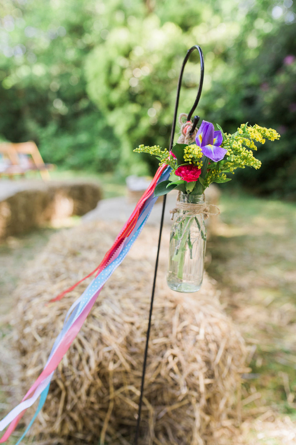 Shepherds Crook Jar Floral Flowers Multicoloured Ribbon Spring Cottage Rivington Wedding Emma B Photography