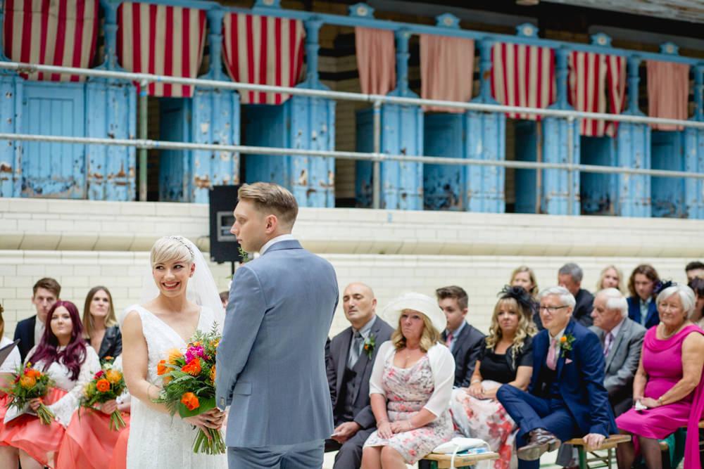 Bride Bridal V Neck Belt Veil Three Piece Suit Groom Blue Victoria Baths Wedding Mark Newton Weddings