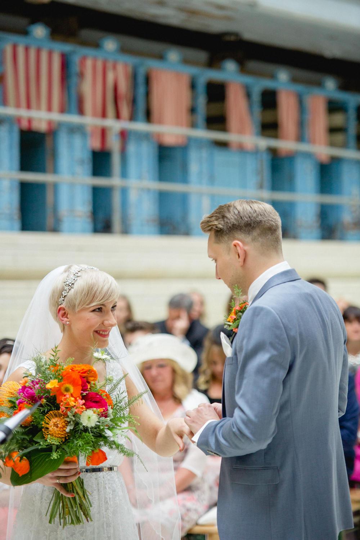 Bride Bridal V Neck Belt Veil Three Piece Suit Groom Blue Orange Red Bouquet Victoria Baths Wedding Mark Newton Weddings