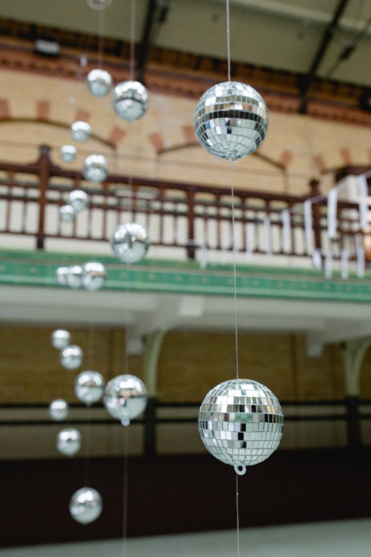 Disco Ball Backdrop Curtain Victoria Baths Wedding Mark Newton Weddings