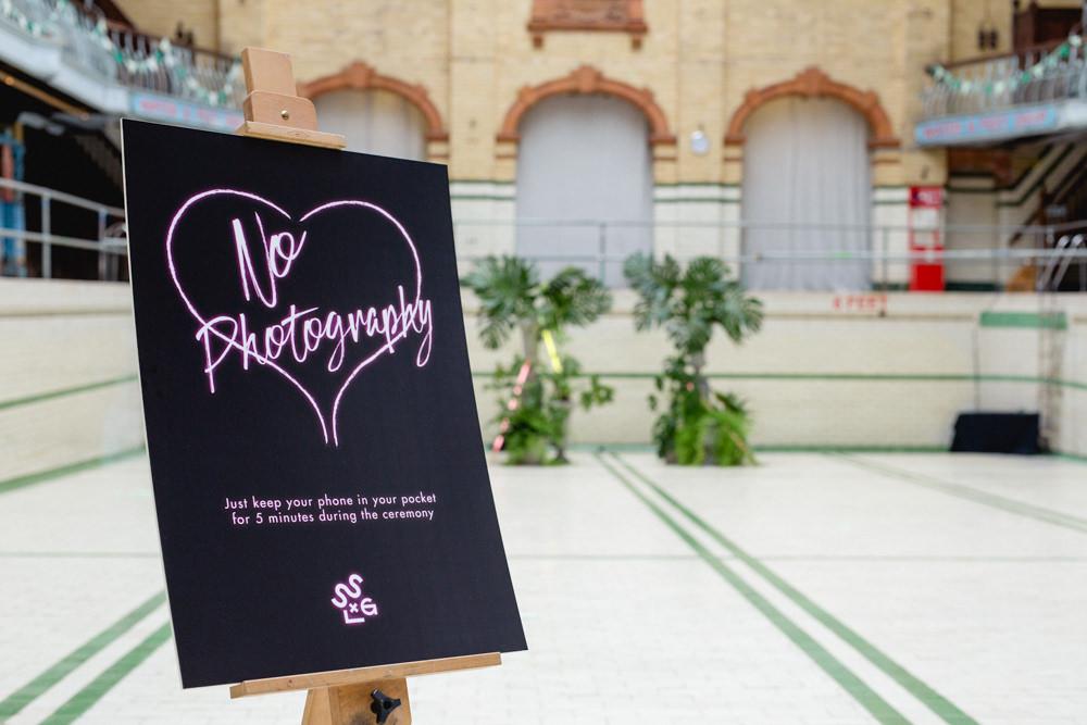 No Photography Unplugged Ceremony Neon Sign Victoria Baths Wedding Mark Newton Weddings