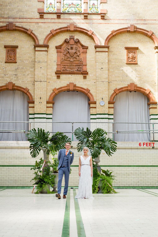 Bride Bridal V Neck Belt Veil Three Piece Suit Groom Blue Tropical Plant Victoria Baths Wedding Mark Newton Weddings