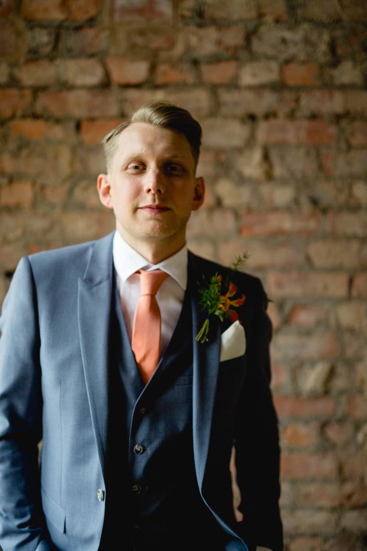 Three Piece Suit Waistcoat Groom Blue Grey Coral Tie Victoria Baths Wedding Mark Newton Weddings