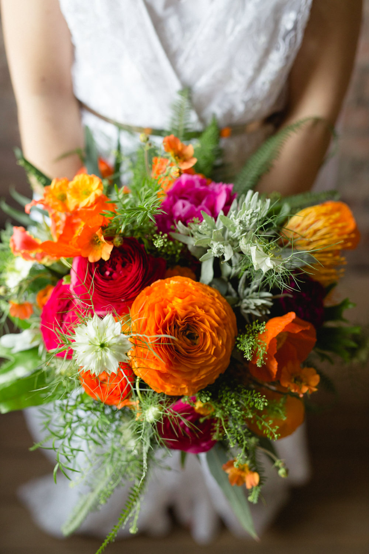Bride Bridal Bouquet Pink Red Orange Victoria Baths Wedding Mark Newton Weddings
