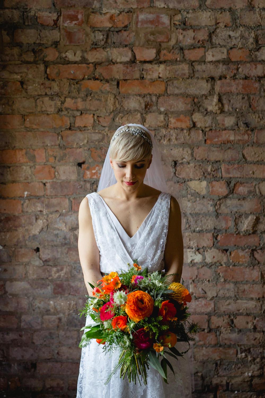 Bride Bridal V Neck Belt Veil Red Orange Pink Bouquet Victoria Baths Wedding Mark Newton Weddings