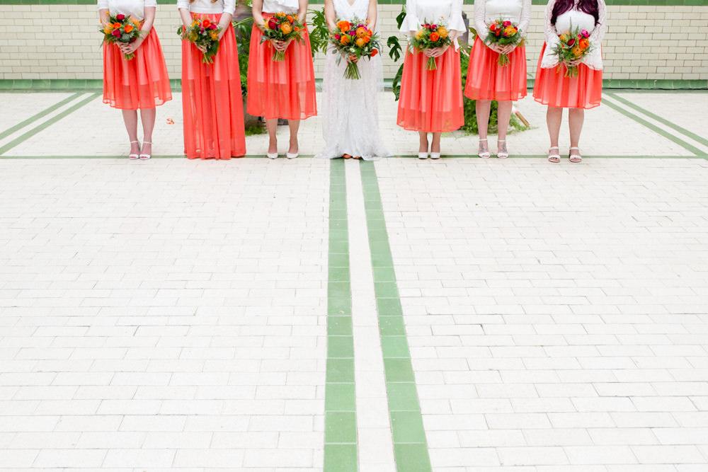 Coral Overlay Bridesmaids Skirts Pink Orange Red Bouquet Victoria Baths Wedding Mark Newton Weddings