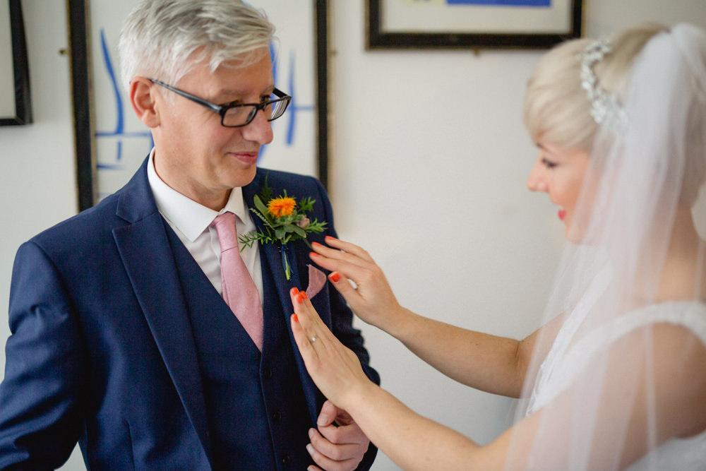 Bride Bridal V Neck Belt Veil Three Piece Suit Blue Victoria Baths Wedding Mark Newton Weddings