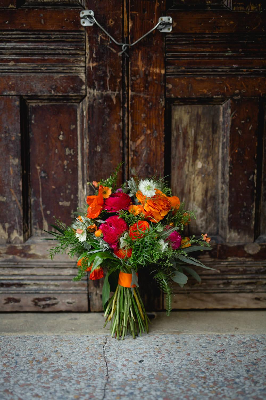 Bride Bridal Red Orange Pink Bouquet Victoria Baths Wedding Mark Newton Weddings