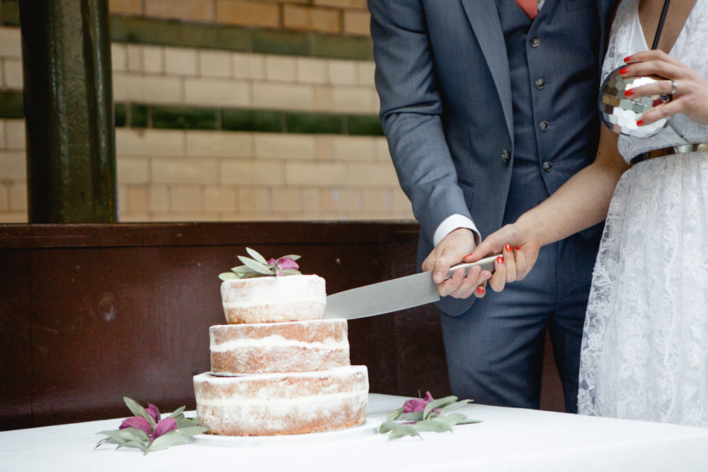 Cake Naked Buttercream Flowers Floral Victoria Baths Wedding Mark Newton Weddings