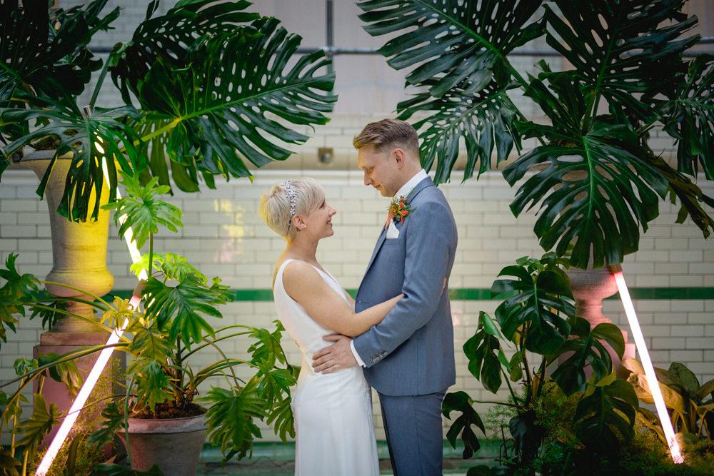 Bride Bridal V Neck Belt Veil Three Piece Suit Groom Blue Tropical Neon Palm Victoria Baths Wedding Mark Newton Weddings