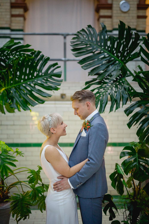 Bride Bridal V Neck Belt Three Piece Suit Groom Blue Victoria Baths Wedding Mark Newton Weddings