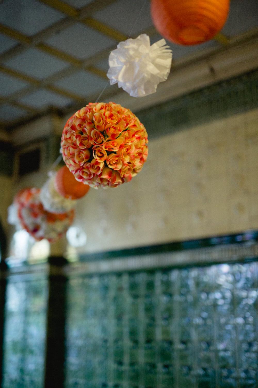 Coral Paper Pom Pom Lantern Victoria Baths Wedding Mark Newton Weddings