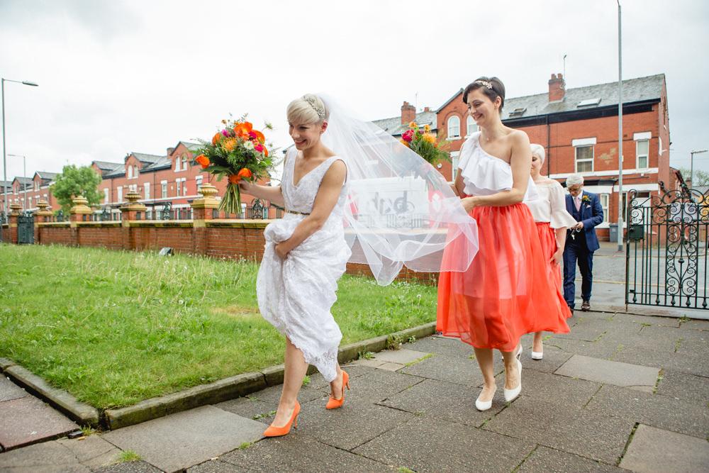 Bride Bridal V Neck Belt Veil Coral Skirt White Top Bridesmaids Victoria Baths Wedding Mark Newton Weddings