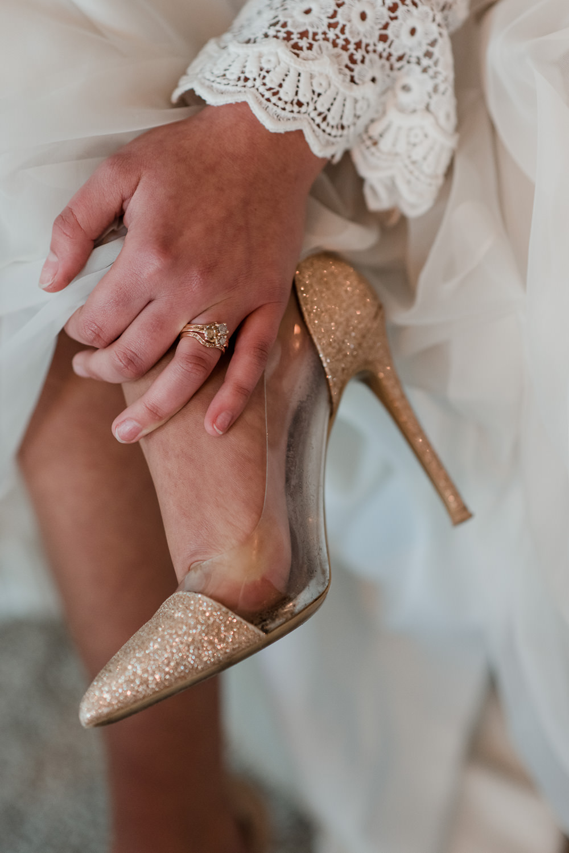 Gold Glitter Shoes Bride Bridal 1970 Retro Mid Century Wedding Ideas Laura Martha Photography