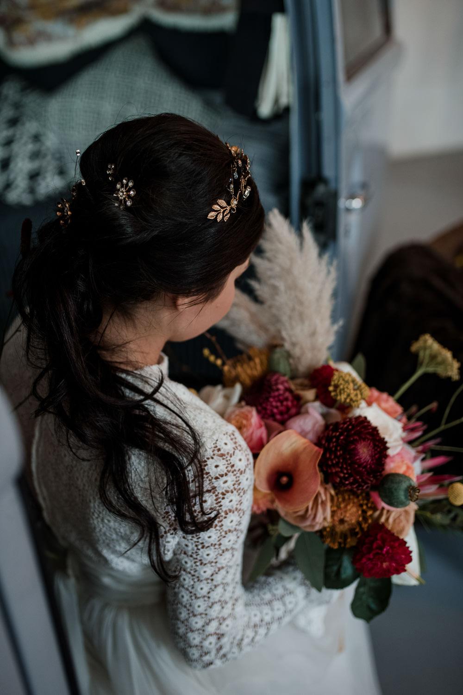 Bride Bridal Hair Accessory Vine Headpiece Gold Style Hair Up Do Pony Tail 1970 Retro Mid Century Wedding Ideas Laura Martha Photography