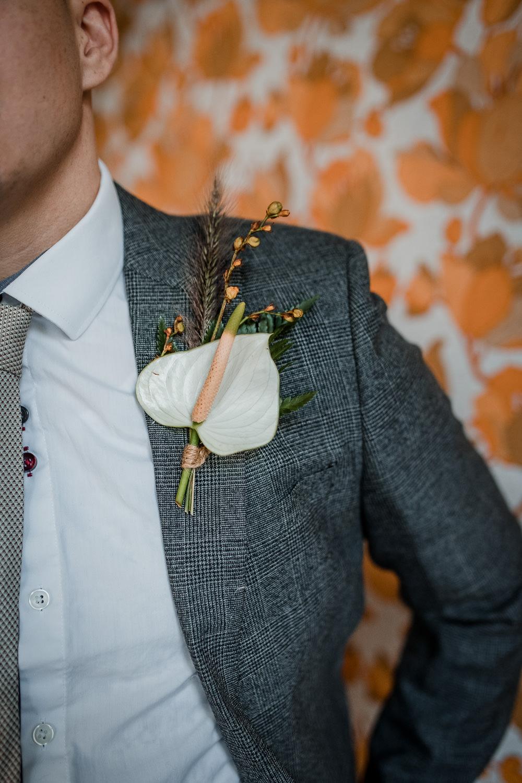 Groom Suit Grey Tie Calla Lily Buttonhole 1970 Retro Mid Century Wedding Ideas Laura Martha Photography