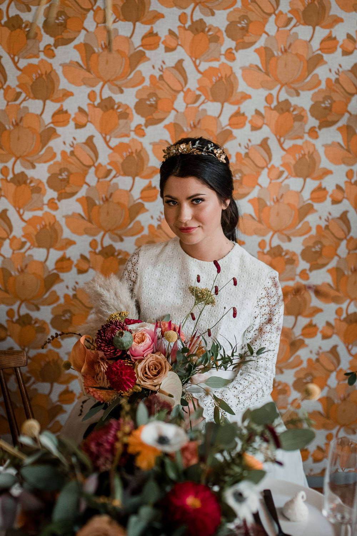 Bouquet Flowers Bride Bridal Mustard Tan Orange Burgundy Calla Lily Pampas Grass Dahlia Chrysanthemum 1970 Retro Mid Century Wedding Ideas Laura Martha Photography